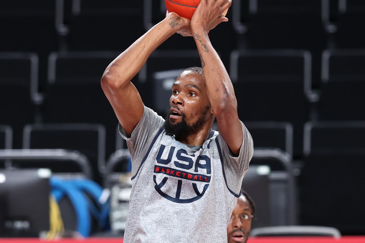 Kevin Durant of Team USA during USAB Mens National Team practice at the Super Saitama Arena on July 22, 2021 in Tokyo, Japan.