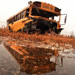 The school bus involved in a crash with a Metra train in Fox River Grove rests in the McHenry County Impound lot near Woodstock in October 1996, one year after the incident. Seven teenagers died in the crash.