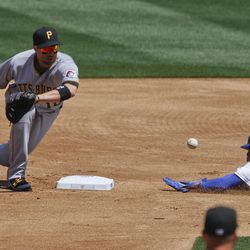 Los Angeles Dodgers' Dee Gordon steals second past Pittsburgh Pirates second baseman Neil Walker during the first inning of a baseball game in Los Angeles, Tuesday, April 10, 2012.
