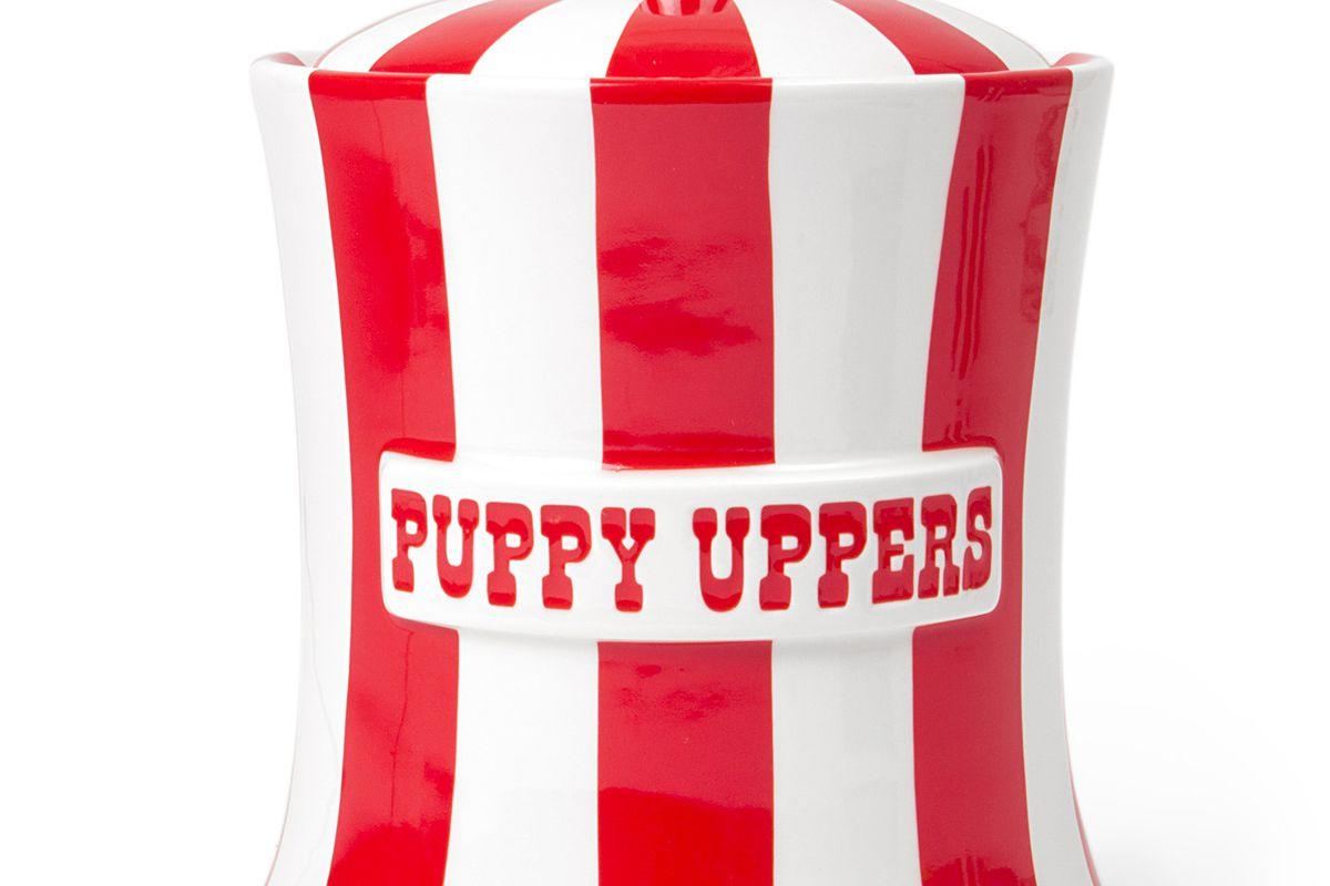 "<a href=""http://www.jonathanadler.com/puppy-uppers-canister/?"">Puppy Uppers Canister</a>, $138 at Jonathan Adler"