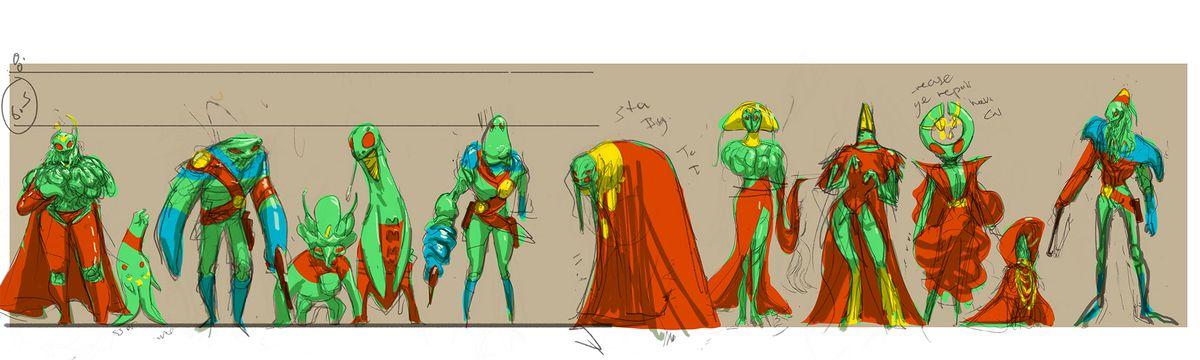 Concept art of Green Martians in Martian Manhunter, DC Comics (2018).