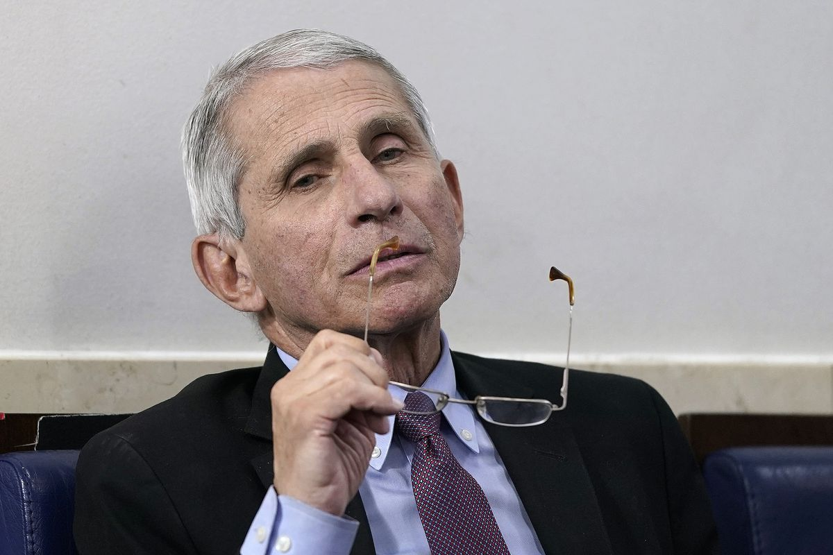 Dr. Anthony Fauci, director of the National Institute of Allergy and Infectious Diseases, participates in the daily coronavirus task force briefing at the White House on April 22, 2020 in Washington, DC.