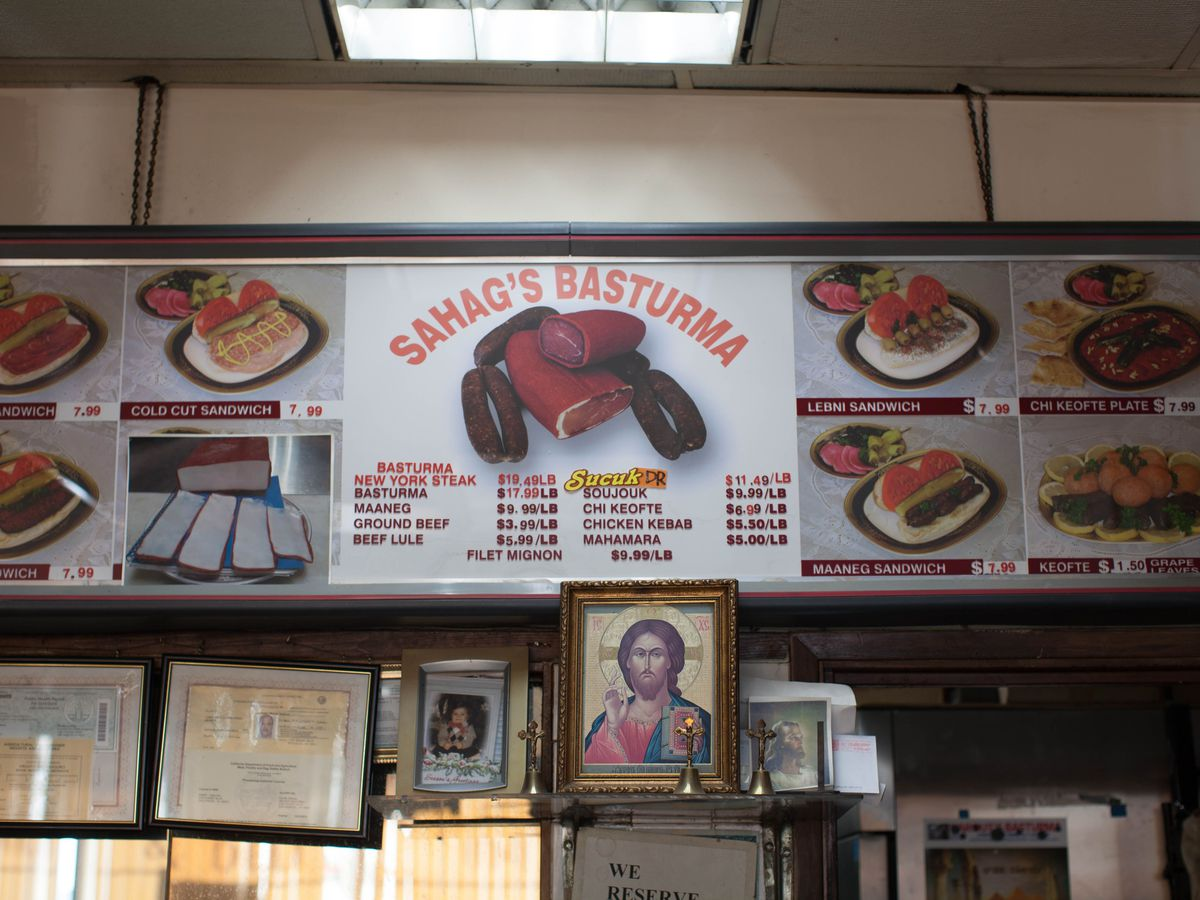 Sign at Sahag's Basturma sandwich shop