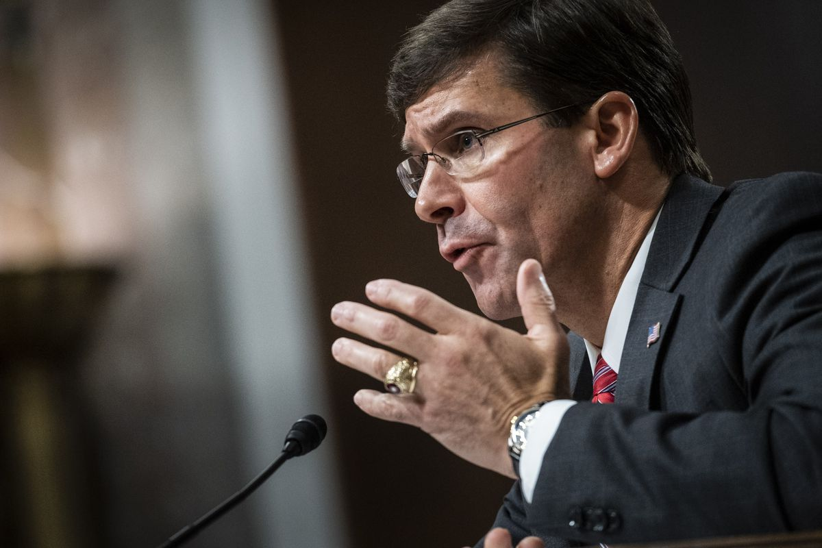Newly confirmed Secretary of Defense Mark Esper testifies before the Senate Armed Services Committee during his nomination hearing on July 16, 2019 in Washington, DC.