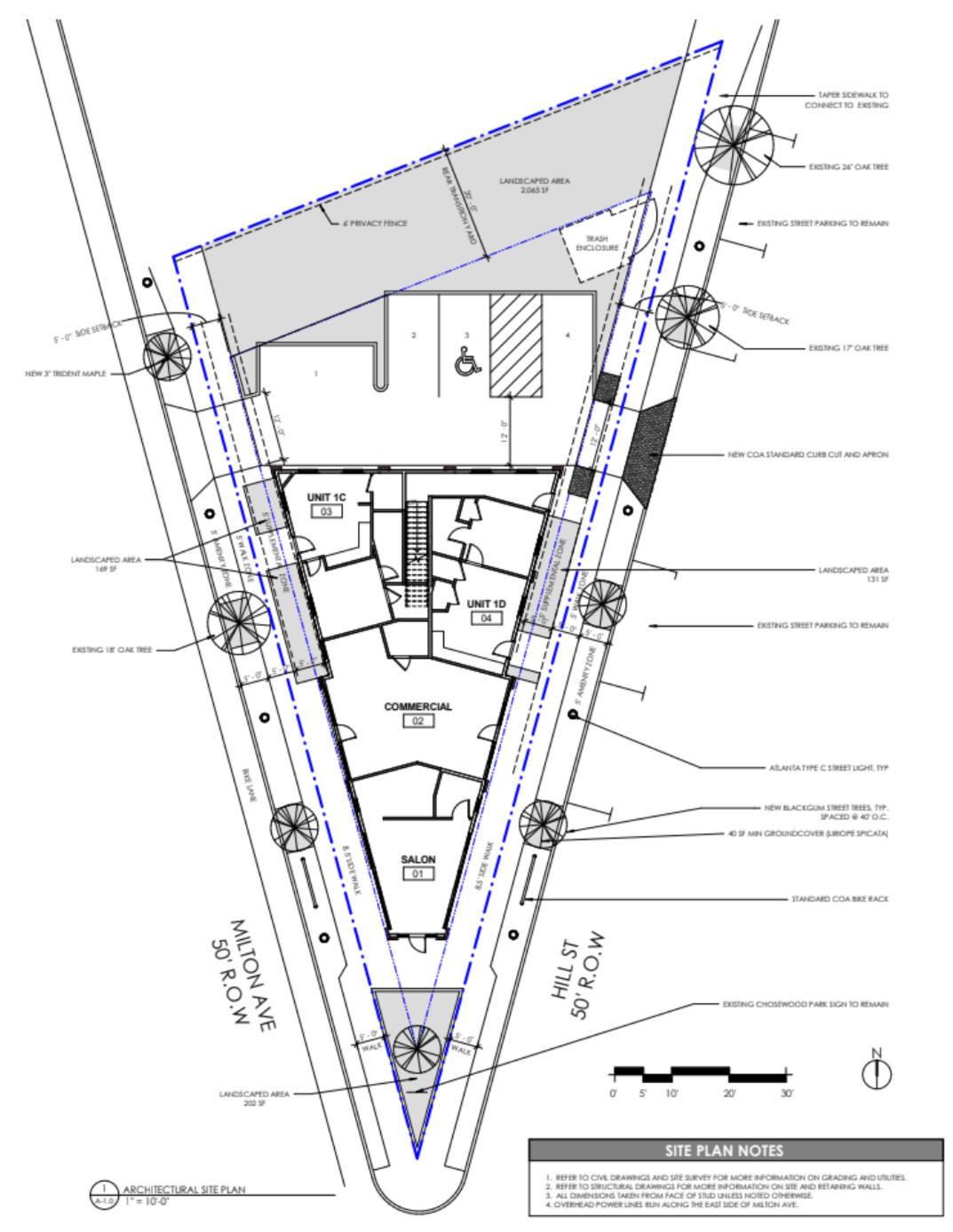A blueprint of the ground-floor plans.