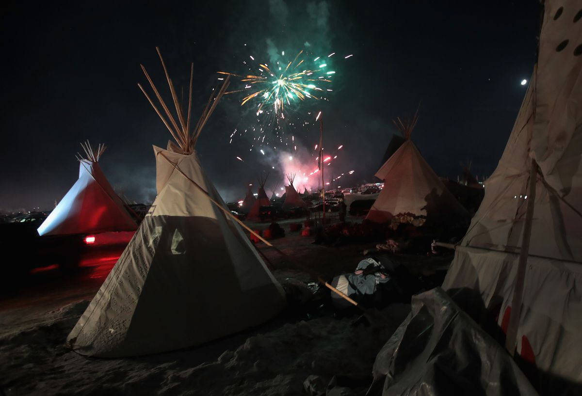 Fireworks at the Standing Rock camp.