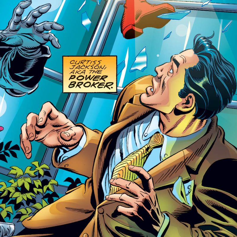 Curtiss Jackson, AKA the Power Broker, a white guy in a suit, cowers from a smashed window in U.S. Agent #3, Marvel Comics (2001).