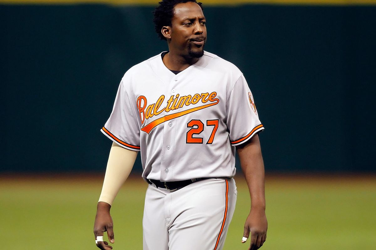 After helping the Rangers win their first pennant in franchise history, Vladimir Guerrero will face Texas in Baltimore as a member of the Orioles.  (Photo by J. Meric/Getty Images)
