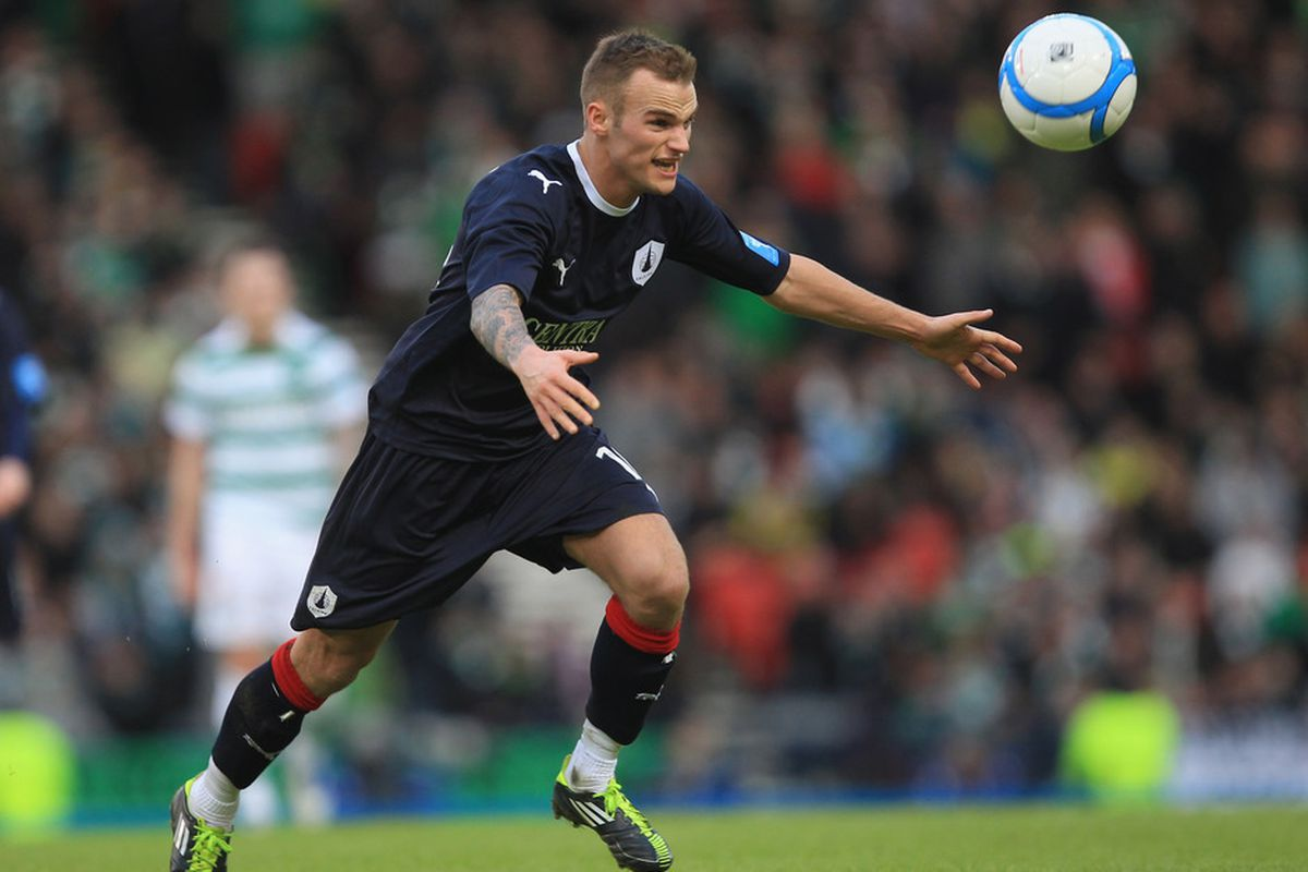 GLASGOW, SCOTLAND - JANUARY 29:  Kallum Higginbotham of Falkirk during the Scottish Communities Cup Semi Final match between Falkirk and Celtic at Hampden Park on January 29, 2012 in Glasgow, Scotland.  (Photo by Tom Shaw/Getty Images)