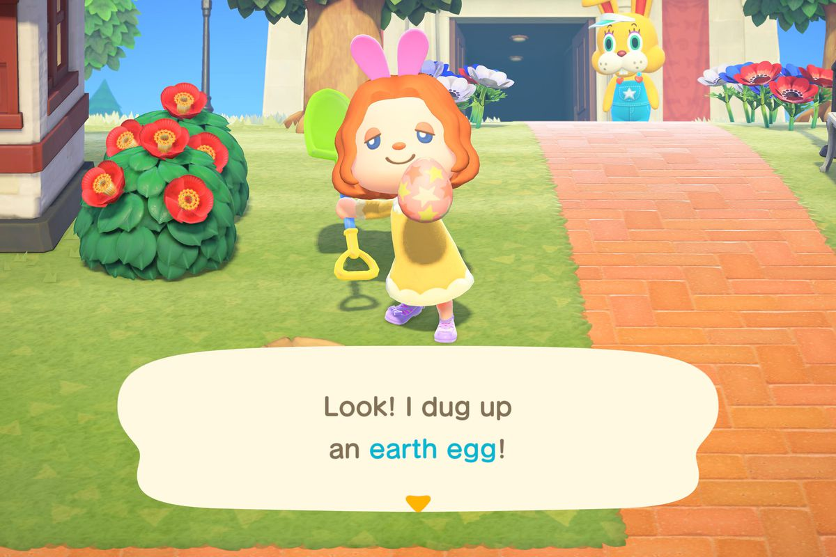 an animal crossing character holding up an easter egg, with an easter bunny lurking menacingly in the background