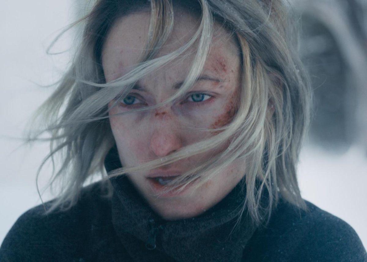 A bloodied Olivia Wilde in A Vigilante.