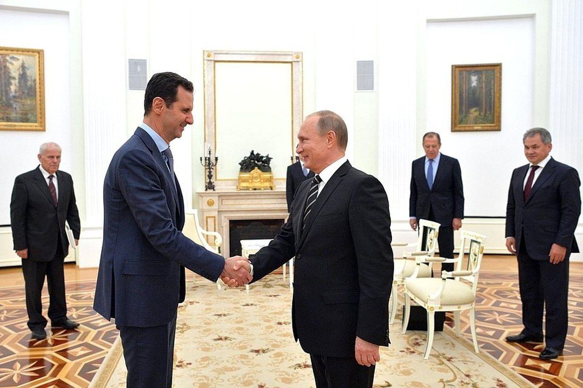 Syrian leader Bashar al-Assad meets with Russian President Vladimir Putin in Moscow.