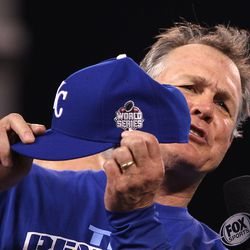 Manager Ned Yost of the Kansas City Royals celebrates after the Royals 4-3 victory against the Toronto Blue Jays in game six of the 2015 MLB American League Championship Series at Kauffman Stadium on October 23, 2015 in Kansas City, Missouri.
