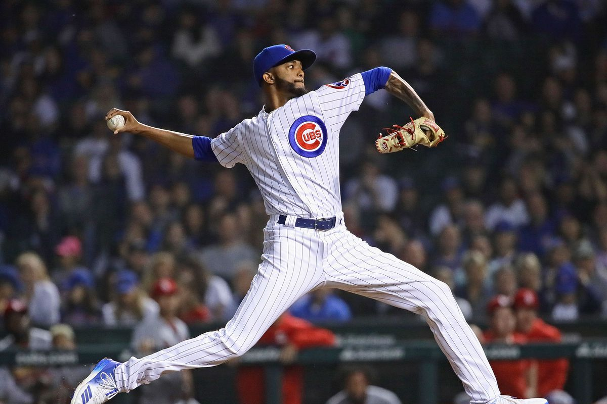 Carl Edwards Jr. of the Chicago Cubs pitches against the St. Louis Cardinals at Wrigley Field on June 09, 2019 in Chicago, Illinois.