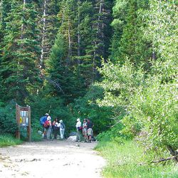 2. The hiking group arrives at the junction for Red Pine Lake. This junction is one mile into the hike.