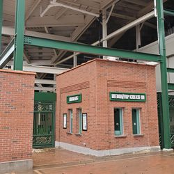 Ticket booth and media credential pickup area on Waveland