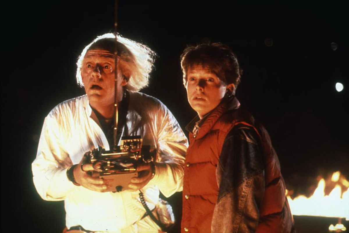 """Christopher Lloyd as Doc Brown and Michael J. Fox as Marty McFly in """"Back to the Future."""""""