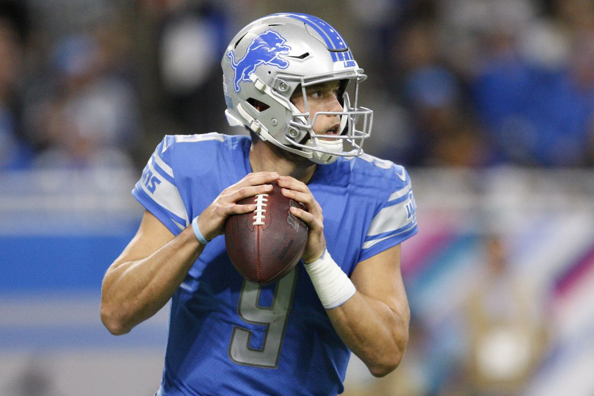 Detroit Lions quarterback Matthew Stafford drops back to pass the ball during the fourth quarter against the New York Giants at Ford Field.