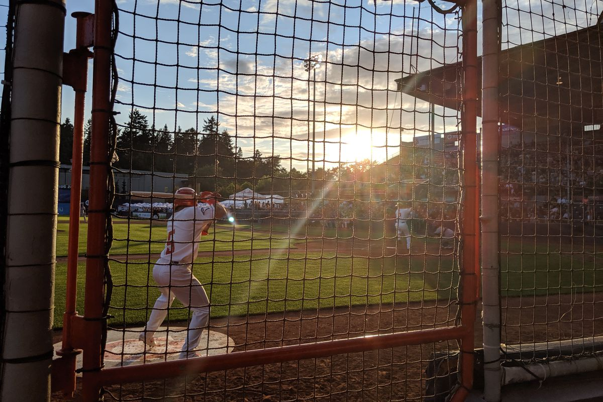 The sun sets on Nat Bailey Stadium, home of the Toronto Blue Jays' short-season A affiliate Vancouver Canadians during a game on July 15, 2019.