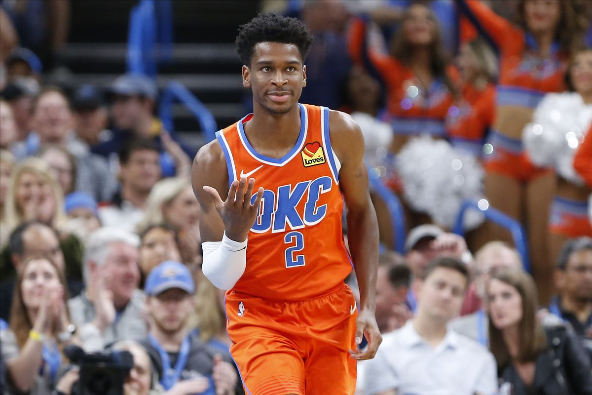 Image result for shai gilgeous alexander okc vs chicago bulls 2019-20