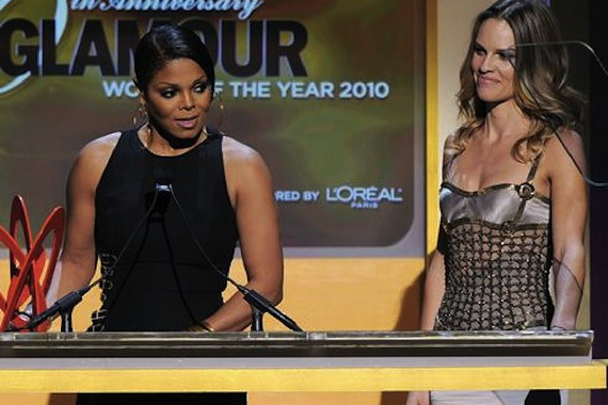 """Janet Jackson and Hilary Swank at last night's awards, via <a href=""""http://content.usatoday.com/communities/entertainment/post/2010/11/cher-julia-oprah-chelsea-janet-go-for-glamour-/1"""">USA Today</a>"""