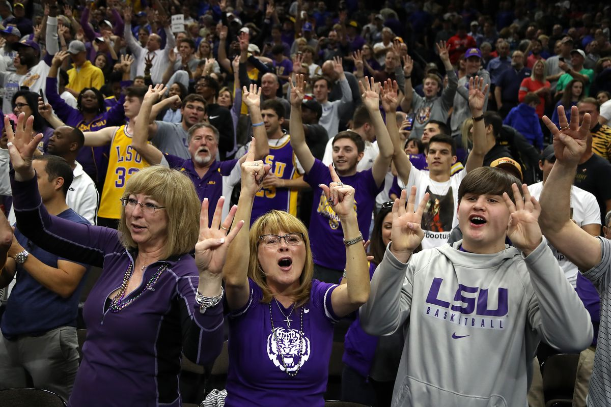 LSU Tigers fans cheer in honor of their 69-67 win over the Maryland Terrapins in the second round of the 2019 NCAA Men's Basketball Tournament at Vystar Memorial Arena on March 23, 2019 in Jacksonville, Florida.