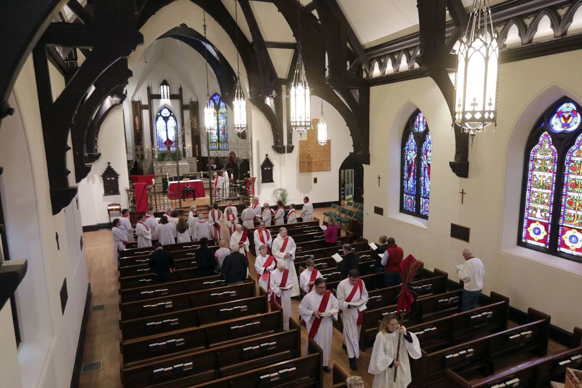 Clergy leave after the Holy Eucharist with Consecration of Chrism and Renewal of Vows service at the Cathedral Church of St. Mark in Salt Lake City on Tuesday, April 16, 2019.