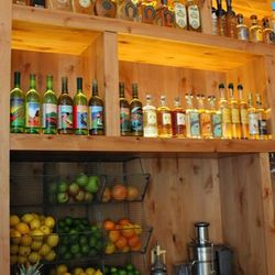 Some of the 200 tequilas and 30 or so mezcals behind the bar