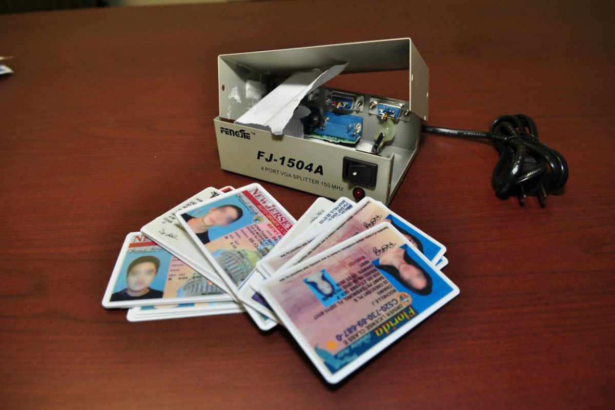 Examples of counterfeit driver's licenses federal agents seized at O'Hare Airport in 2011.