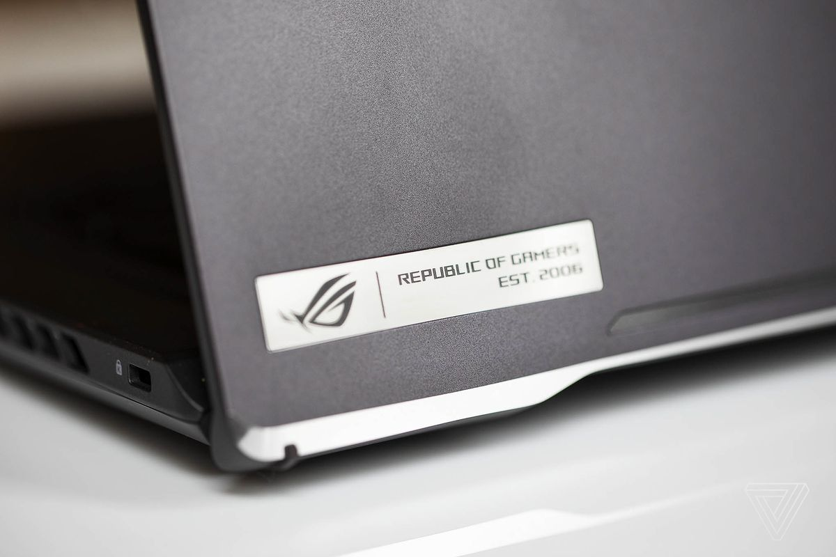 The Republic of Gamers logo on the lid of the Asus ROG Zephyrus G15.