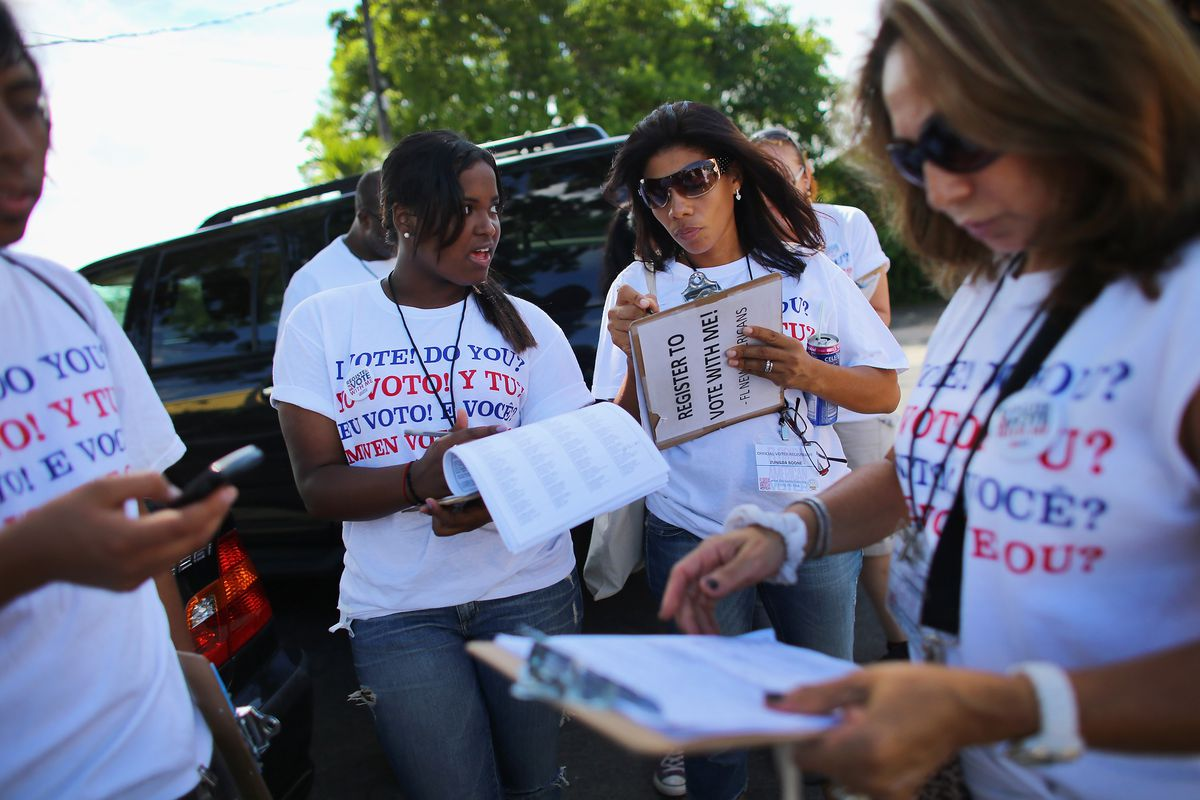 A group of voter-registration organizers in Florida in October 2012.