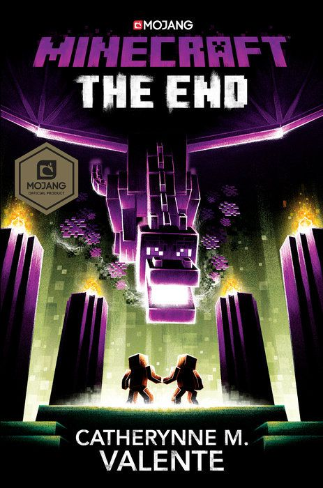 Minecraft The End cover a purple spaceship floats over two block people