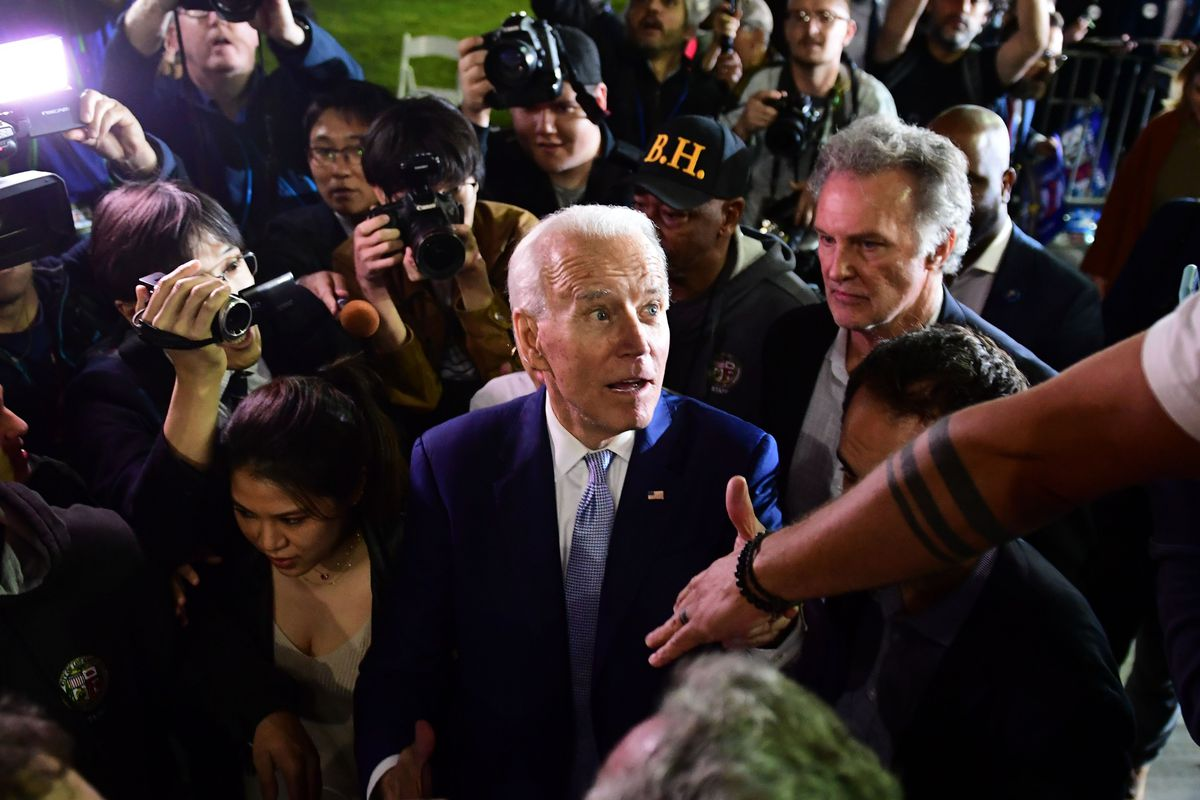 Democratic presidential hopeful former Vice President Joe Biden greets supporters as he leaves a Super Tuesday event in Los Angeles on Tuesday.