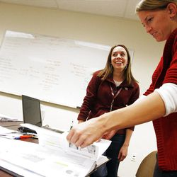 Roseman University pharmacy students Jessica Allen,  center, Greg Holm and Mary Rogers study together last week for an exam at the school in South Jordan.