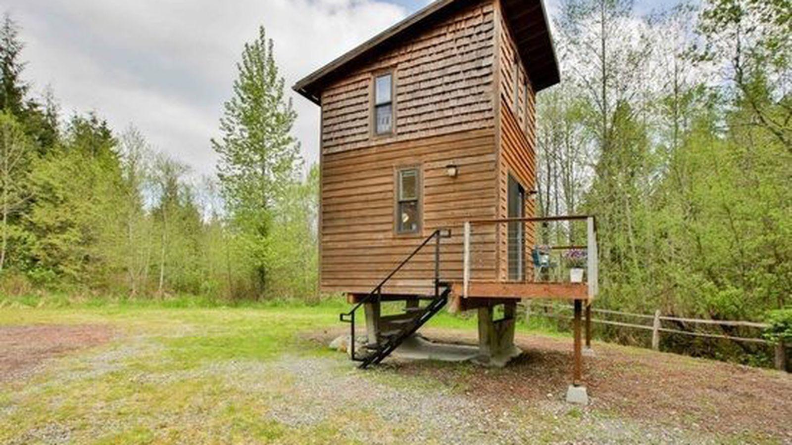They stuck a tiny cube on stilts in arlington asking 89k for Tiny house on stilts
