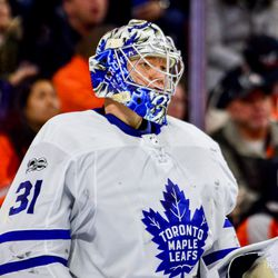 Andersen anxiously awaiting the puck to come towards him during a tense third period