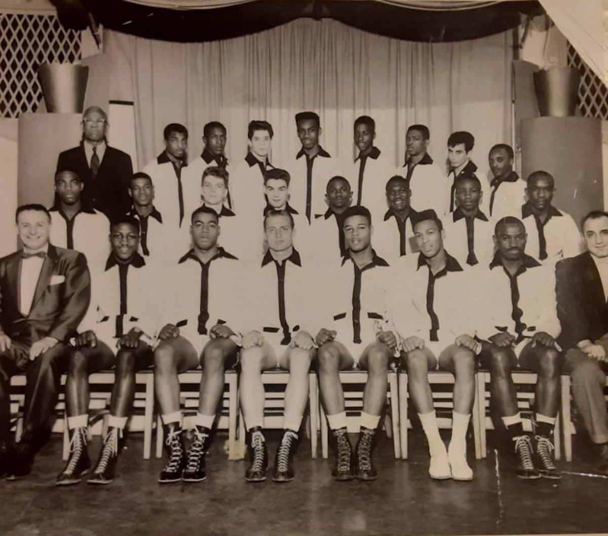 Al Jenkins (second fighter from the left in the front row) and other Golden Gloves boxers.