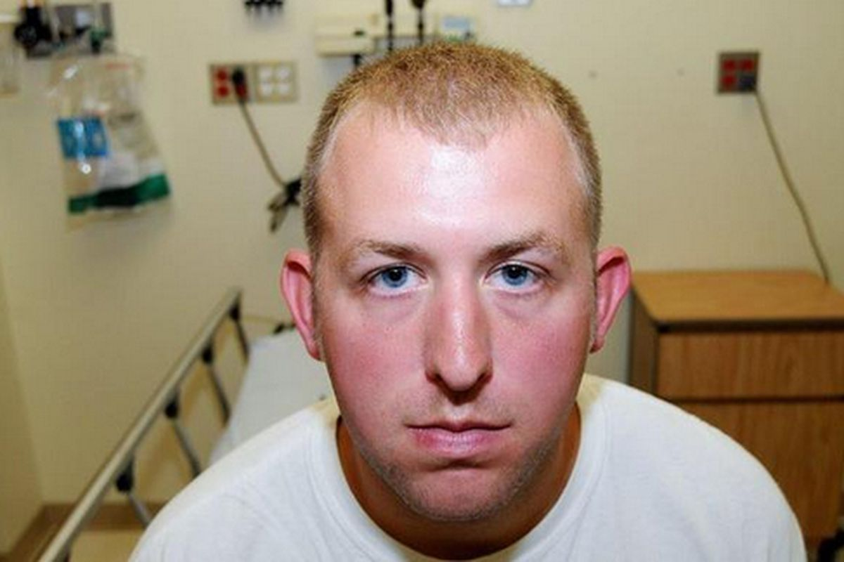 Ferguson, Missouri, police officer Darren Wilson at the hospital following the August 9 shooting of Michael Brown.