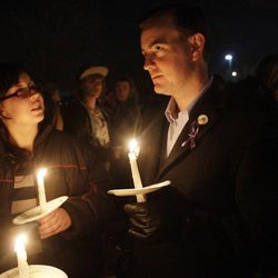 West Valley Mayor Mike Winder along with Powell family friends and well wishers hold a candlelight vigil in Salt Lake County  Sunday, Feb. 5, 2012. Josh Powell and his two sons were killed in an explosion in Washington.