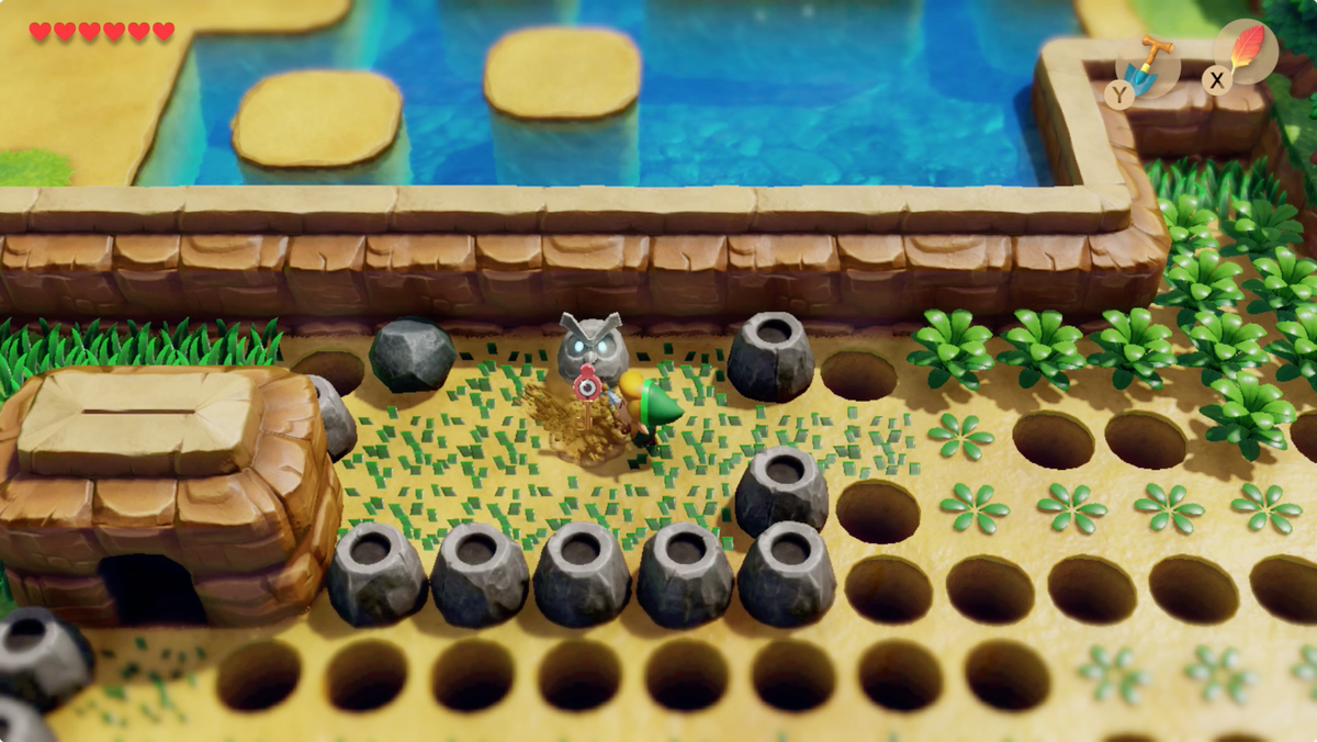 Link's Awakening Pothole Field use the shovel to dig for the Slime Key