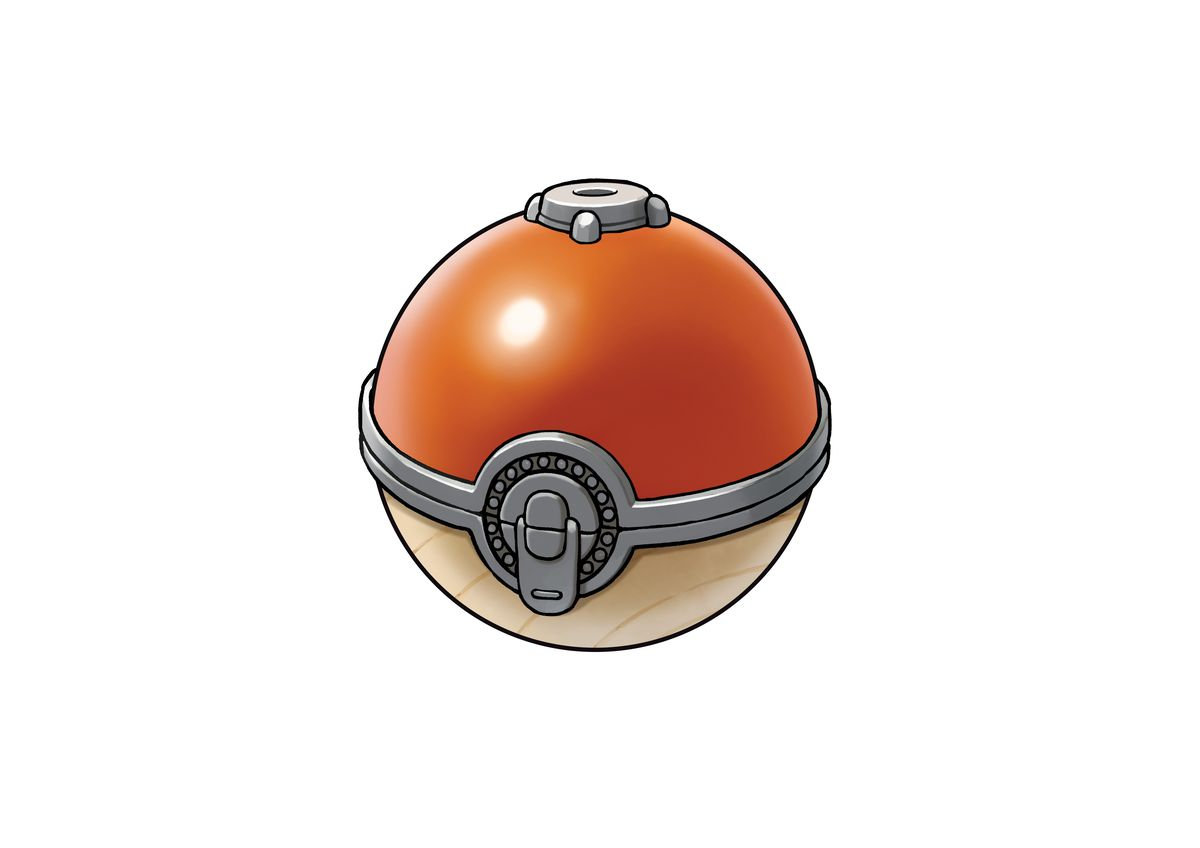 a Poké Ball in Pokémon Legends: Arceus, complete with wood and metal latch