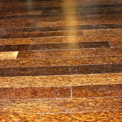 Close up on Duraplam flooring, made from reclaimed palm trees
