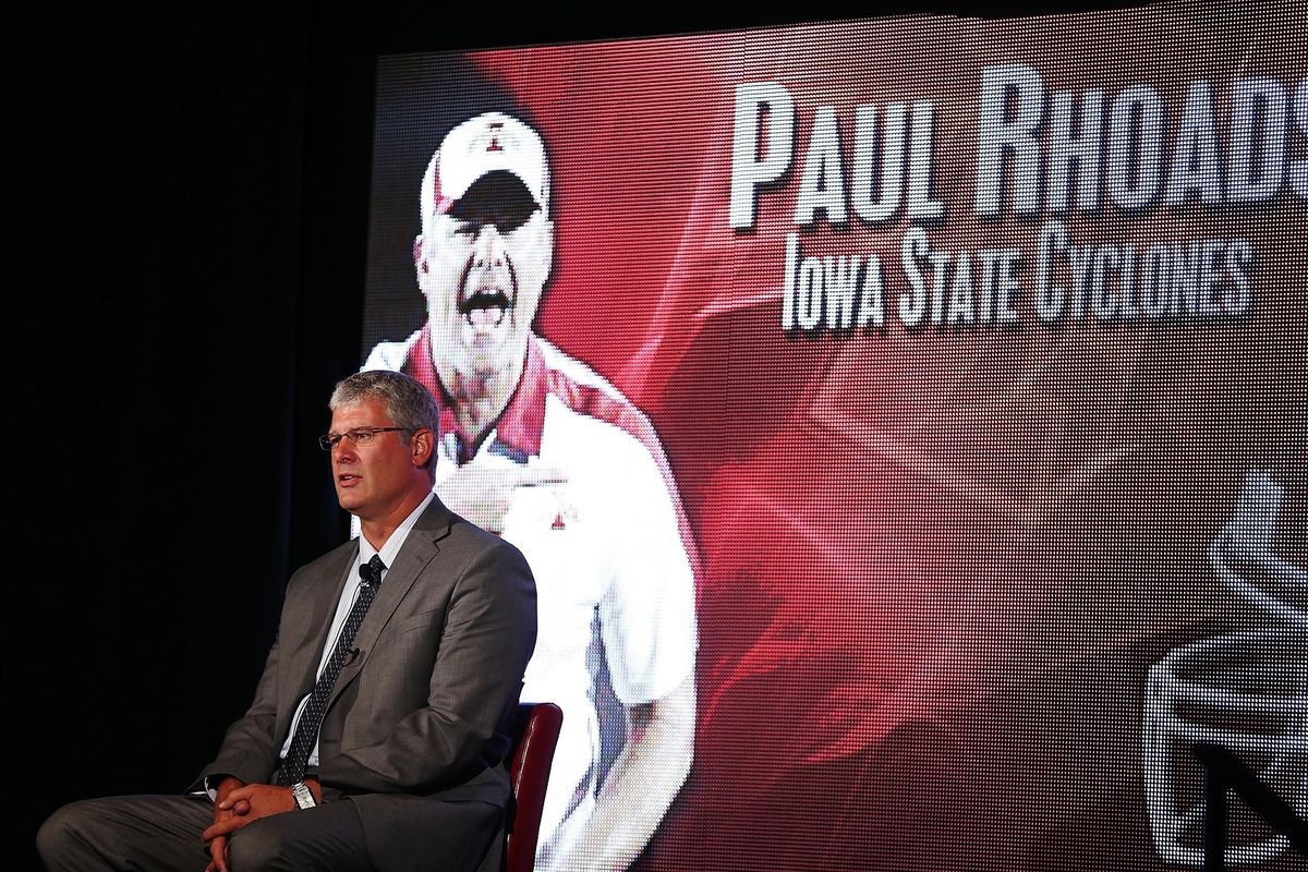 Jul 23, 2012; Dallas, TX, USA; Iowa State Cyclones head coach Paul Rhoads; about to be attacked by his much larger video doppelganger. Mandatory Credit: Kevin Jairaj-US PRESSWIRE
