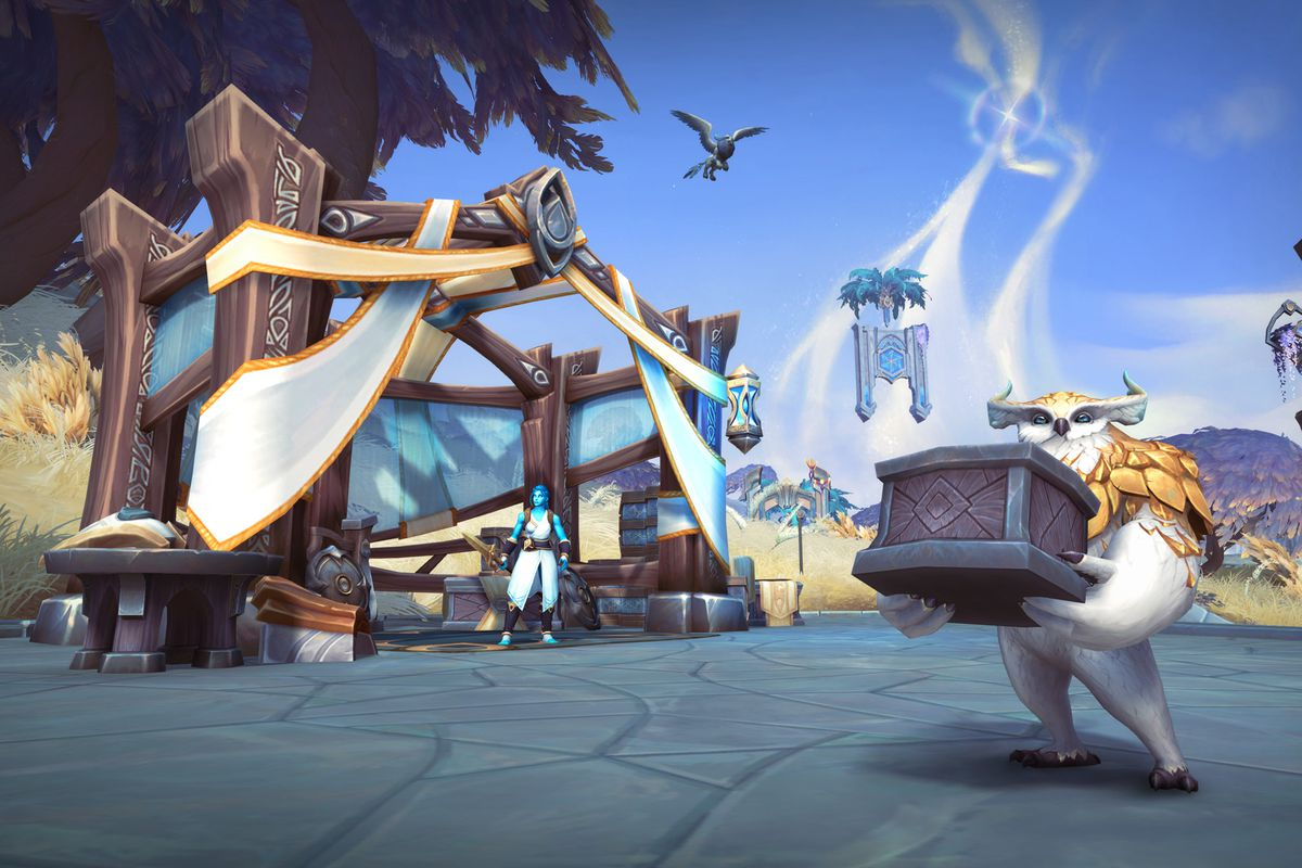 World of Warcraft: Shadowlands - a helpful Steward, a little owl creature, holds a big crate in the brightly colored fields of Bastion