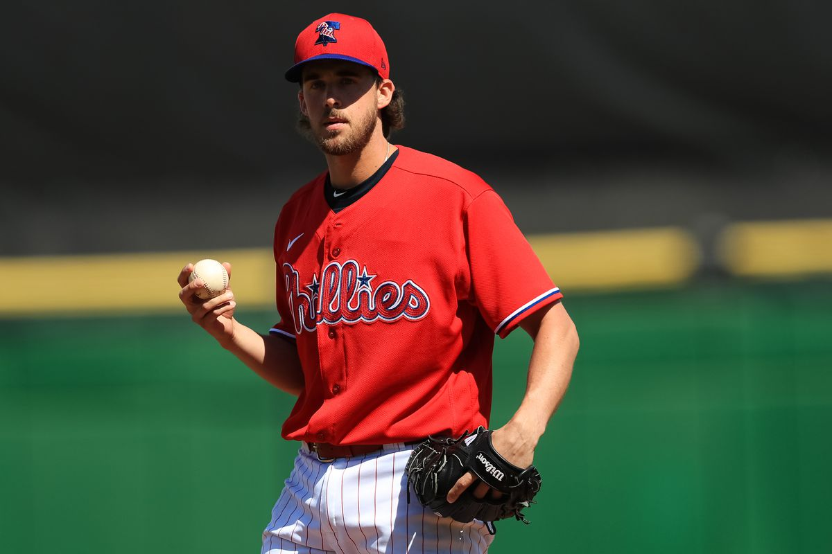 Aaron Nola #27 of the Philadelphia Phillies warms up prior to a spring training game against the Pittsburgh Pirates at Spectrum Field on February 23, 2020 in Clearwater, Florida.