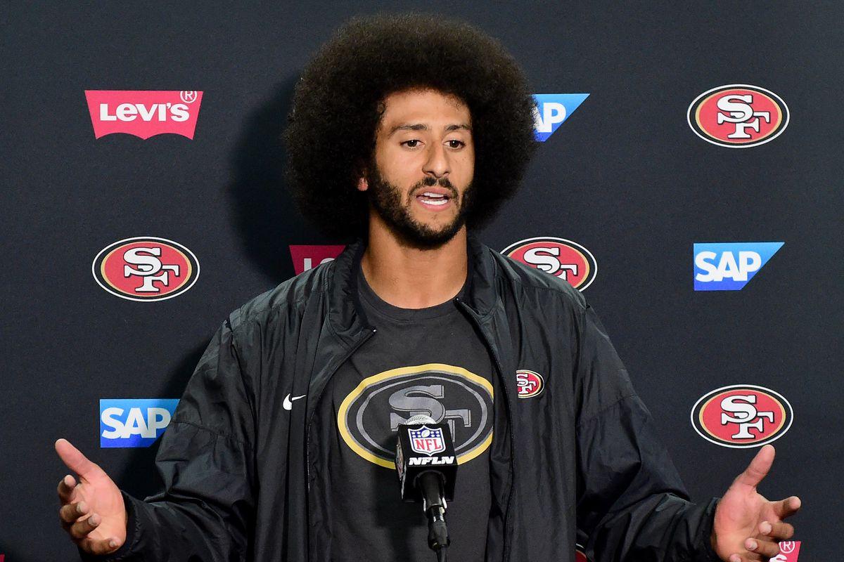 San Francisco 49ers player Colin Kaepernick at a press conference.