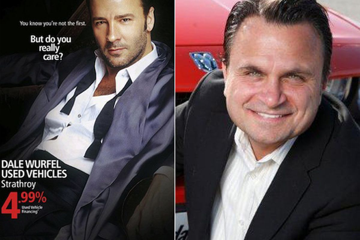 """Given the choice, we'd rather buy a used car from Tom Ford, too. Image at right via <a href=""""http://www.dalewurfelchryslerdodgejeep.com/index.htm?sa=t&amp;source=web&amp;cd=1&amp;ved=0CBwQFjAA&amp;url=http%3A%2F%2Fwww.dalewurfelchryslerdodgejeep.com"""