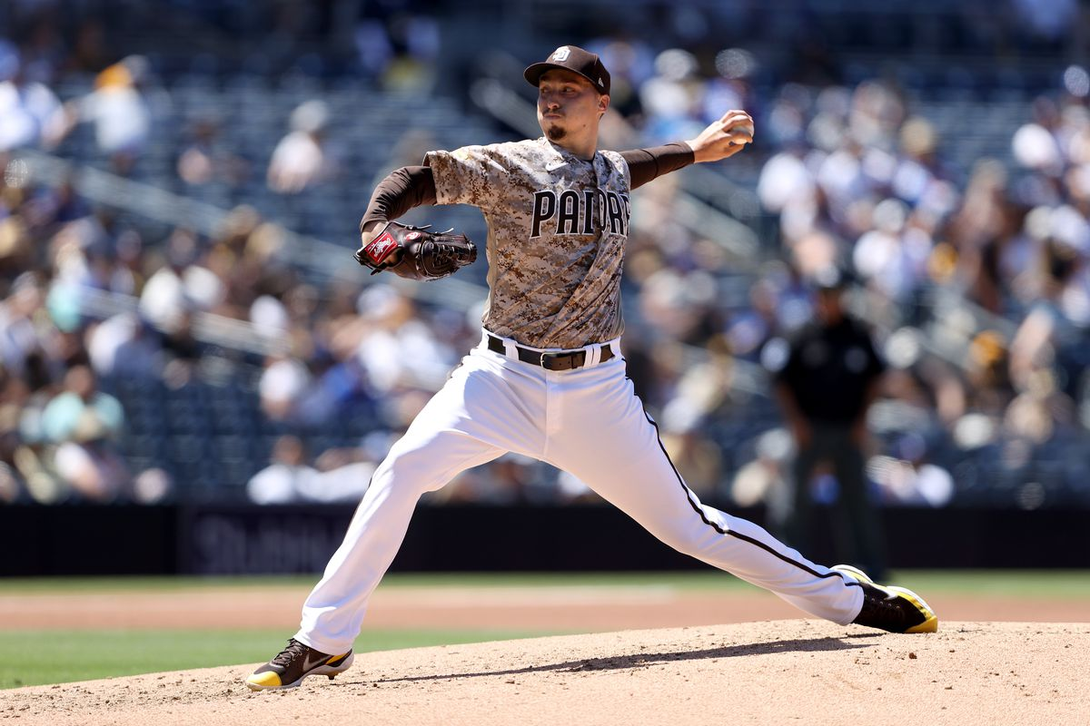 Blake Snell #4 of the San Diego Padres pitches during the second inning of a game against the Los Angeles Dodgers at PETCO Park on April 18, 2021 in San Diego, California.