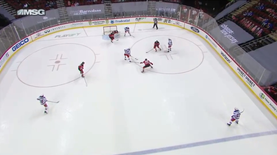 April 18: This play was crushing as it turned a 3-3 forced by a Devils comeback into a 3-4 game.  This is the passive diamond at its worst. Zibanejad set himself up perfectly in the middle where he is surrounded but is not covered. The Devils fail to stop a pass to him or win the puck earlier.  He gts it and hammers in a shot that would give Our Hated Rivals the sweep in The Week of Hate.