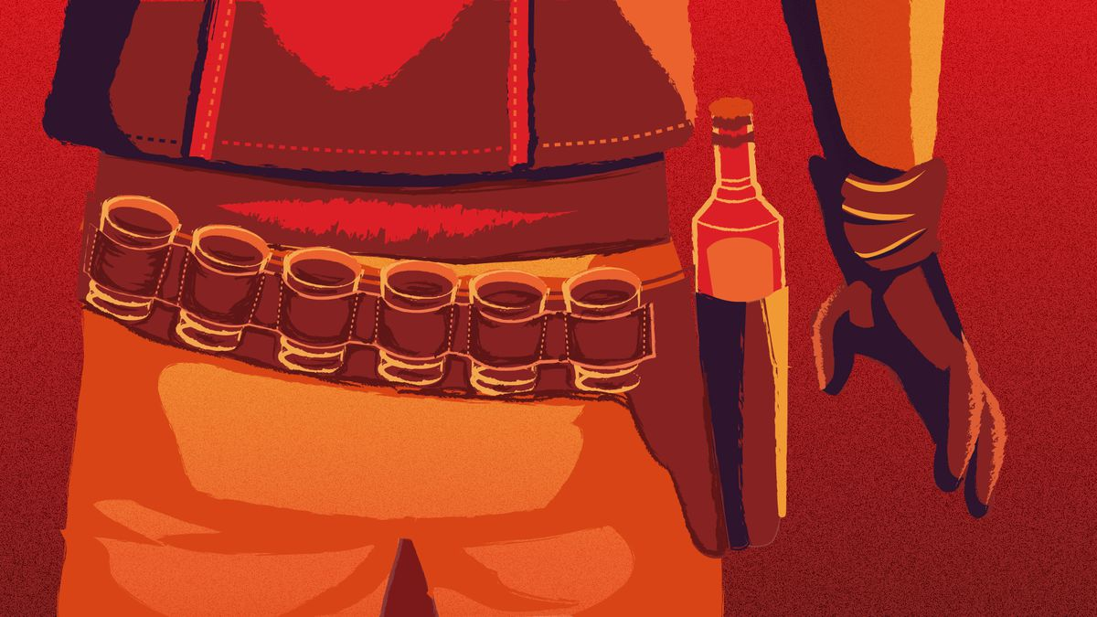 illustration of cowboy with liquor bottle and shot glasses in his utility belt